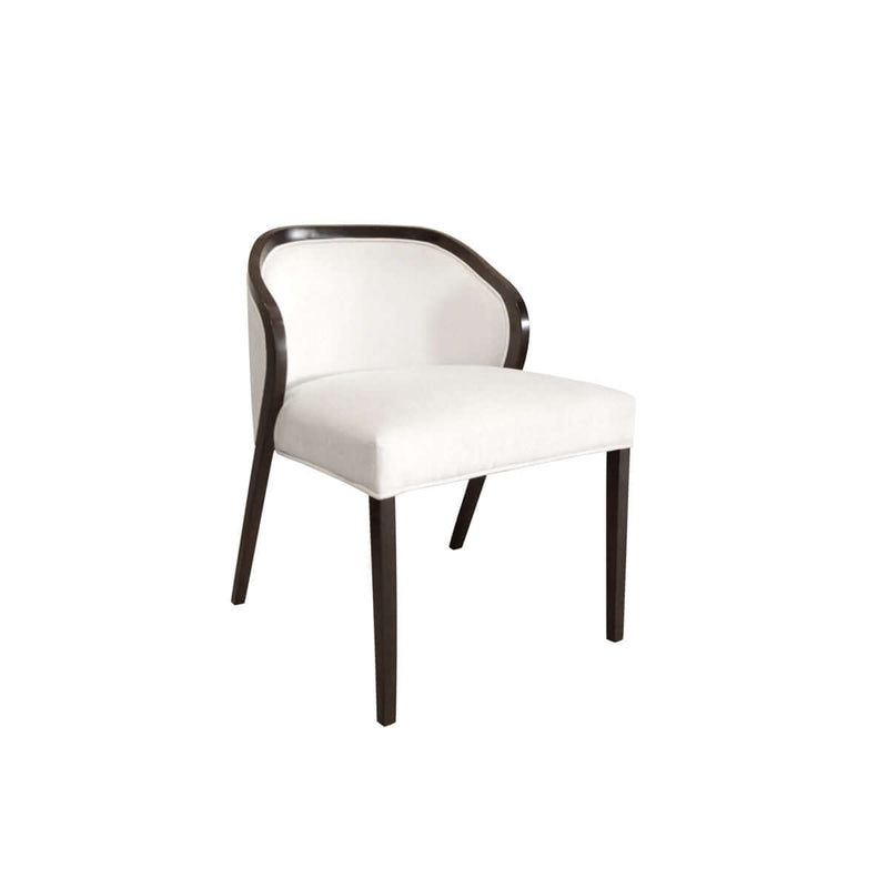armless dining chair with low back and glossy wooden trim side view