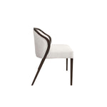 armless dining chair with low back and glossy wood straight legs
