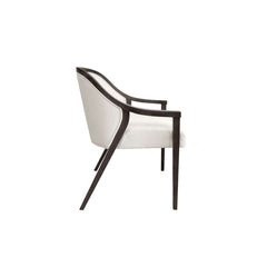 arm dining chair glossy wooden trim with straight legs side view