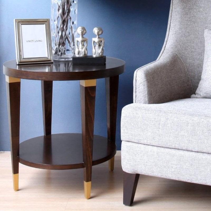 modern yet classic Hampton round side table