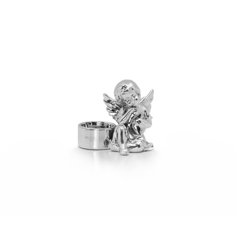 Joy Cherub Candle Holder - Silver