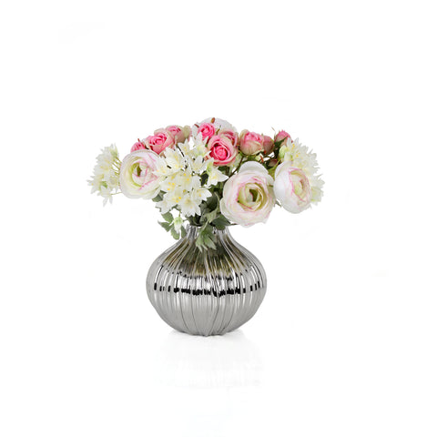 Mix Bush Pink/White 58 cm with Vase