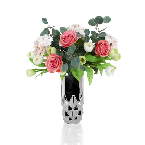 Mix Bush Pink/White 75 cm with Vase