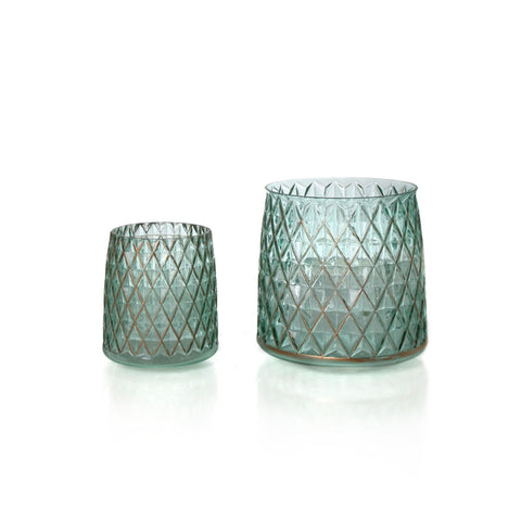 Mumbai Quilt Vase Candle Holder - Green (set of 2)