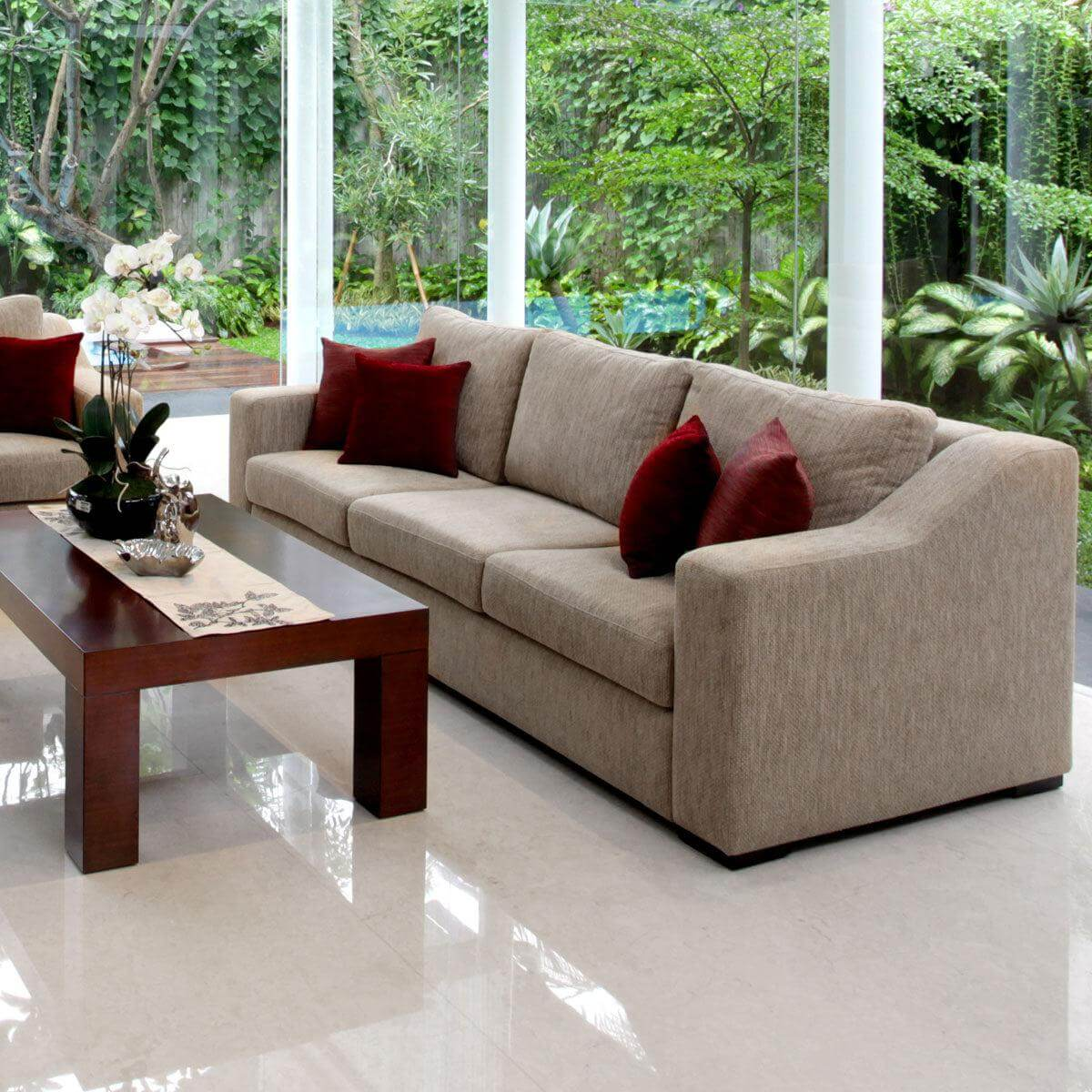 Presidio three seat sofa with prestigious accent arm