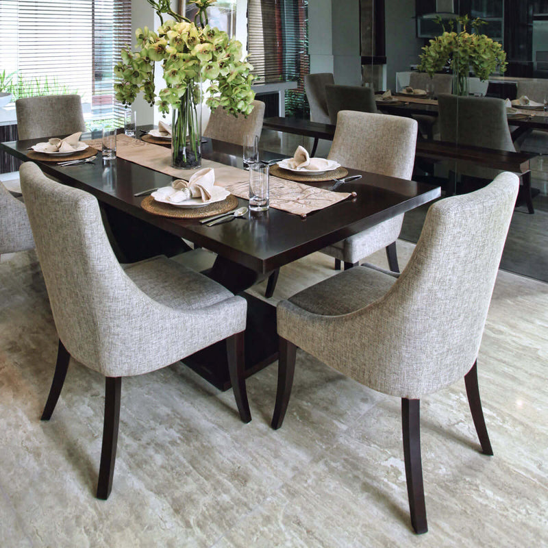 dining room table and chairs with wood legs and glossy surface