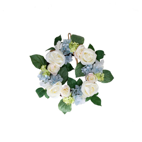 Rose Hydrangea Wreath - Off White/Blue