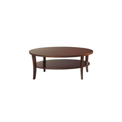 round sleek brown coffee table
