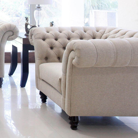 tufted one seat sofa chair with satin finished legs sofa jakarta