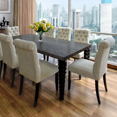 indonesian furniture - gold grain dining table curvy legs available in Jakarta and Bali