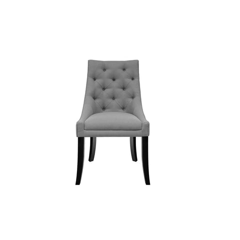 jakarta furniture side chair, tufted with flared wooden legs