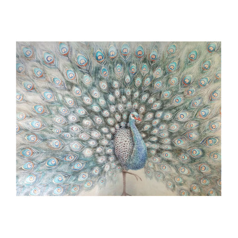 Serenity Blue Peacock Wall Art with Beads