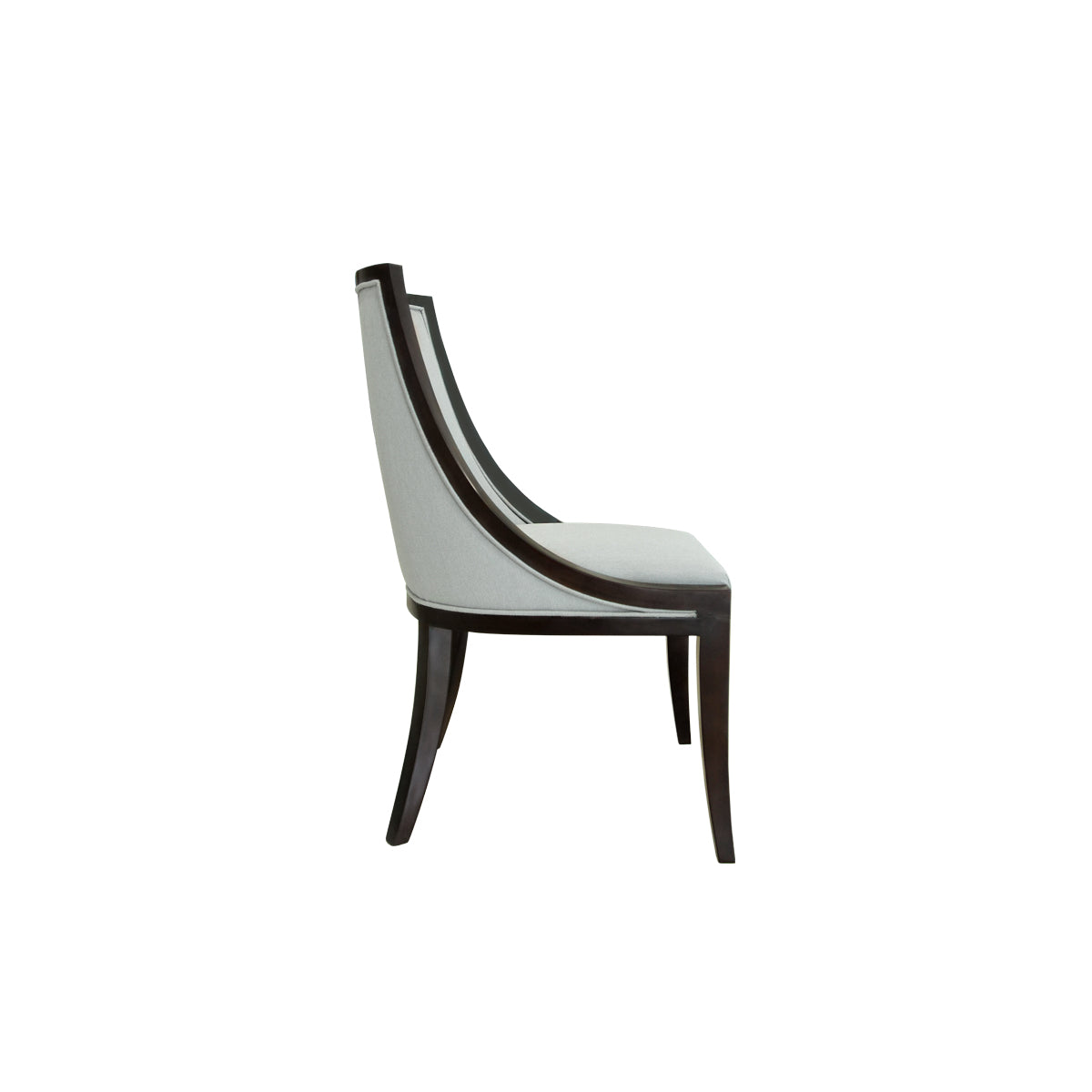 indonesian furniture - dining room chair with wood trim and straight legs