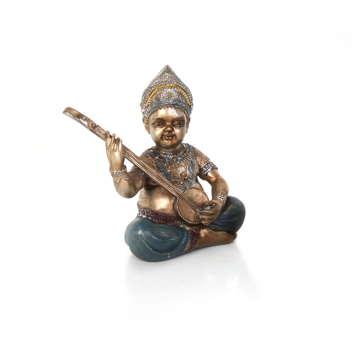 gold and green musician figurine home accessory