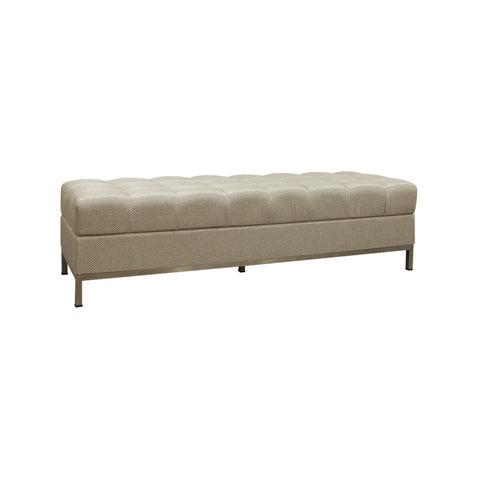 tufted bench with metal legs