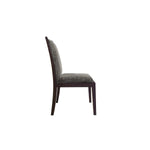indonesian furniture - side view of dining chair with wood trim and straight features