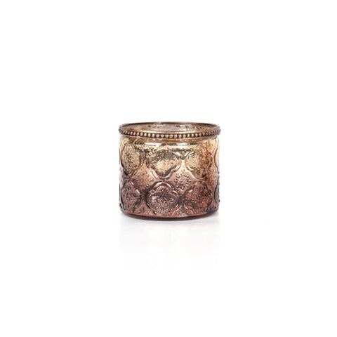 Agra Cylindrical Flower Candle Holder - Bronze