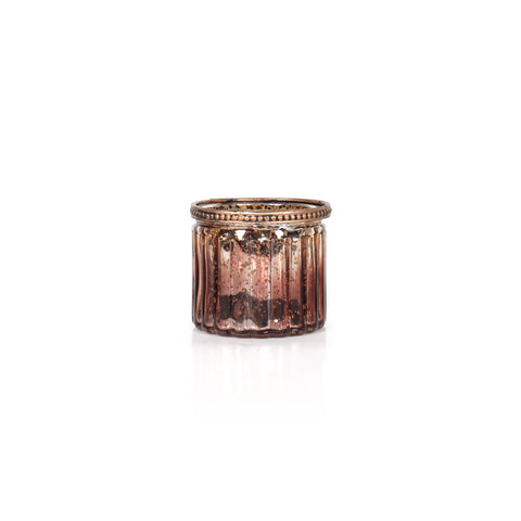 Agra Cylindrical Stripes Candle Holder - Bronze