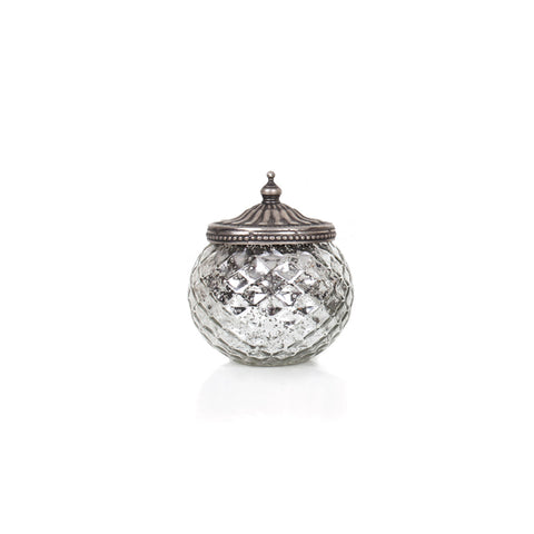 Agra Round Candle Holder With Cover - Silver