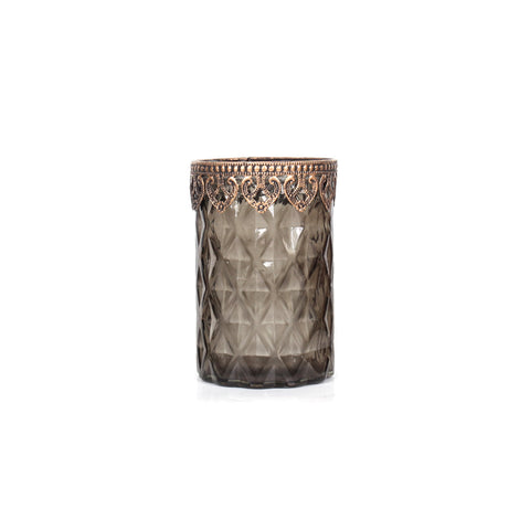 Agra Cylindrical Diamonds Candle Holder Tall - Green - Vinoti Living