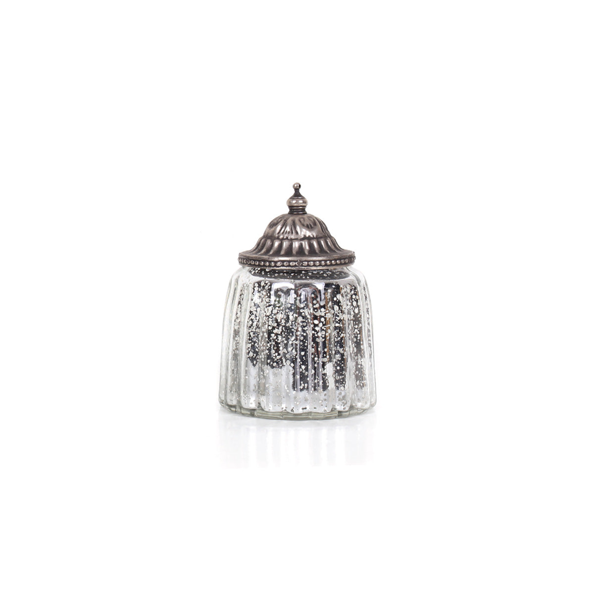 Agra Cylindrical Candle Holder - Silver - Vinoti Living