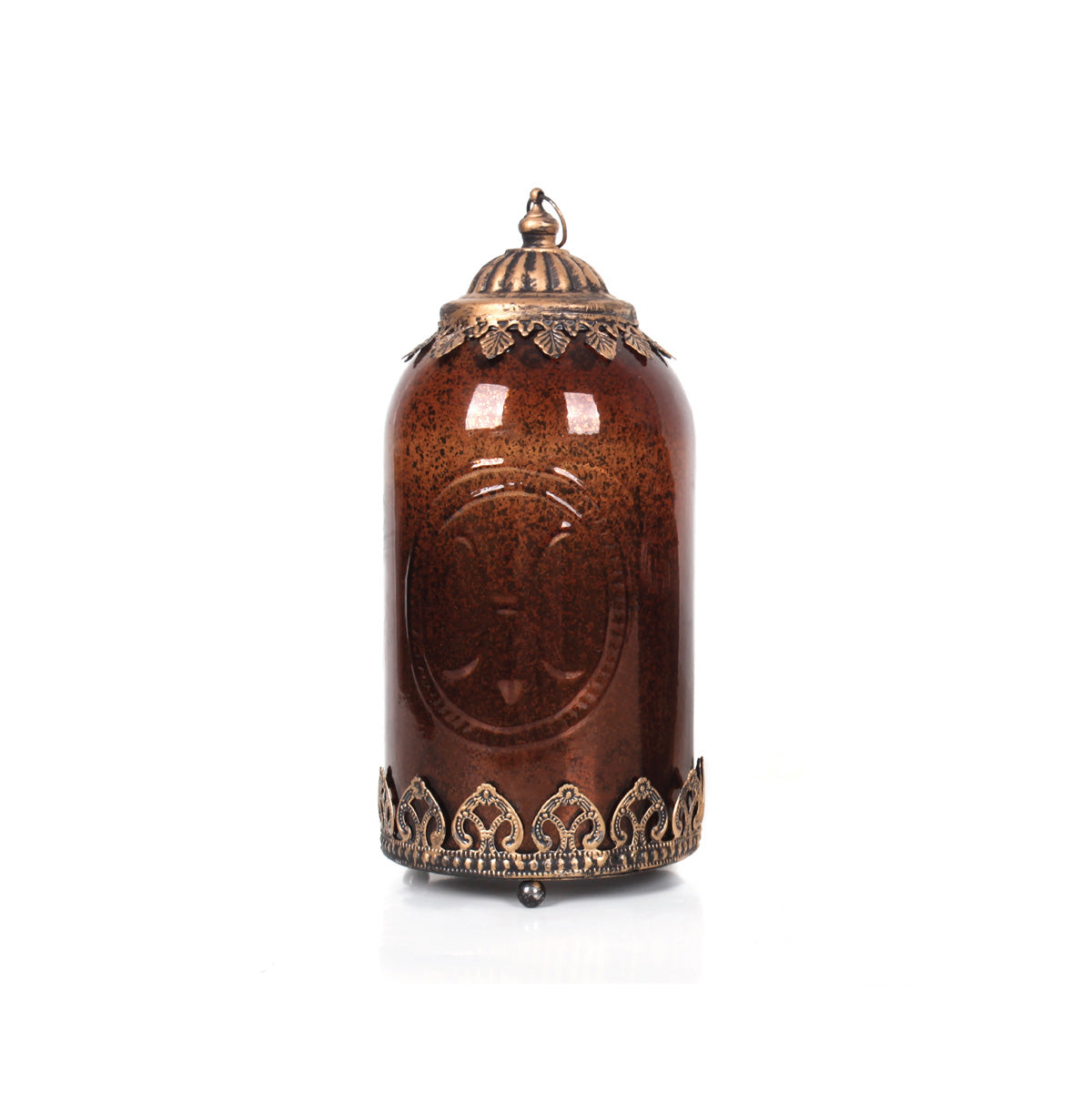 Agra Stupa Led Lantern Tall - Bronze - Vinoti Living