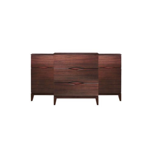 indonesian furniture online - glossy brown sideboard with 9 drawers