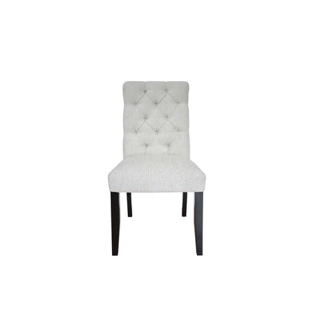 tufted dining chair with flare, wood legs and mahogany construction