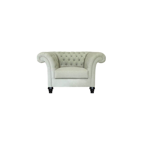 tufted one seat sofa chair with satin finished legs