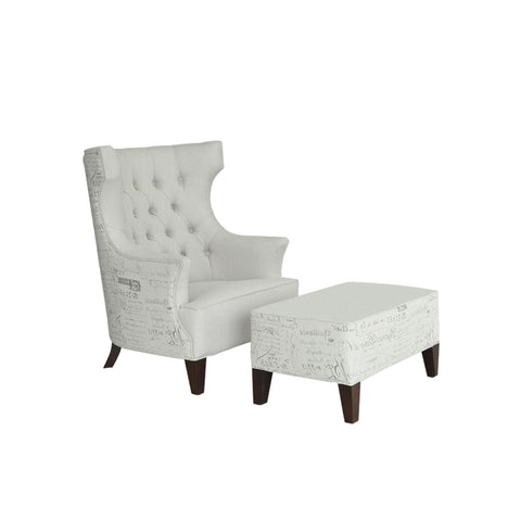 furniture jakarta wing chair ottoman tufted back dekoruma