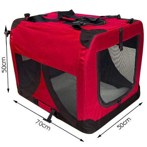 Large Portable Soft Pet Dog Crate Cage Kennel Red