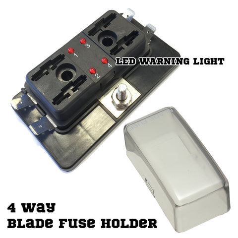 ATO 4 Way Blade Fuse Holder Box LED Light 12-32V Circuit Caravan Truck Boat 4X4