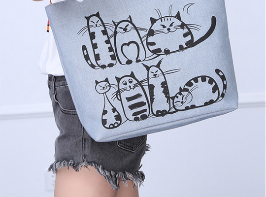 Cartoon Cat Printed Canvas Tote bag |PawRawrCollection