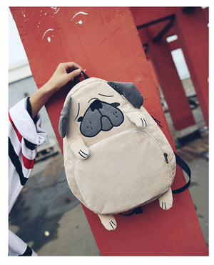 Fashionable Pug/Fox Canvas Backpack |FREE SHIPPING