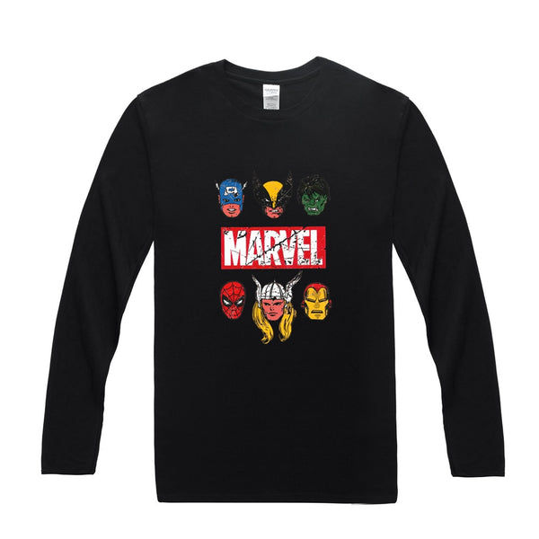 Marvel Avengers Long Sleeve Cotton T-Shirt (Many Variants Available)
