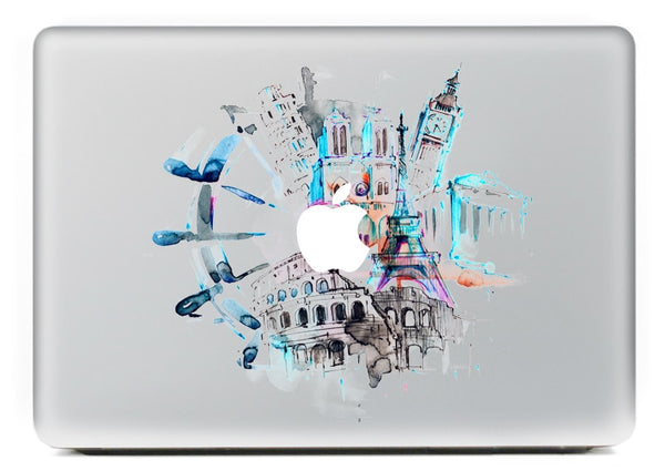 Removable World Turntable Vinyl Decal for Macbook 11 13 15