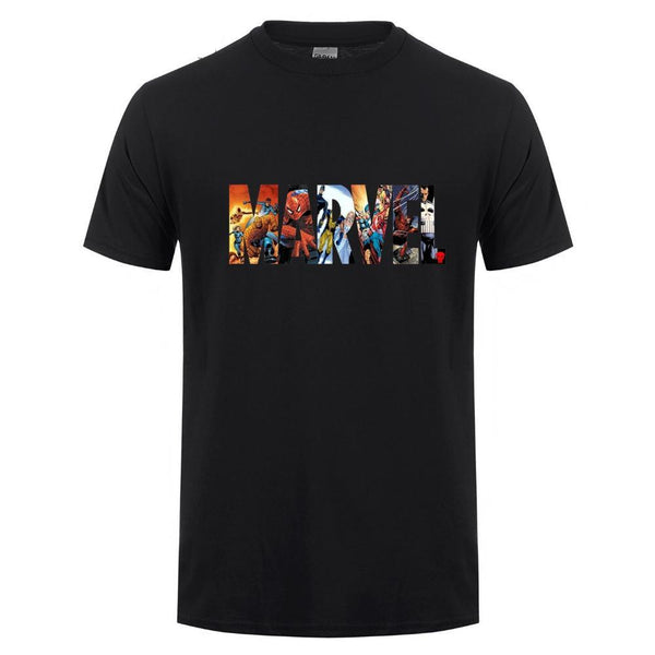 Marvel Logo Super Hero Cotton T-Shirt (Many Variants Available)