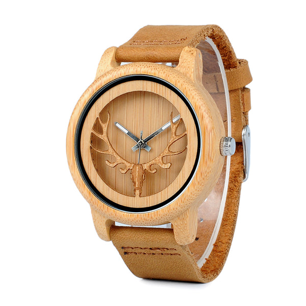 BOBO BIRD  W*A27 Bamboo Watch With Deer Buck Head Design with Real Leather Band in Box