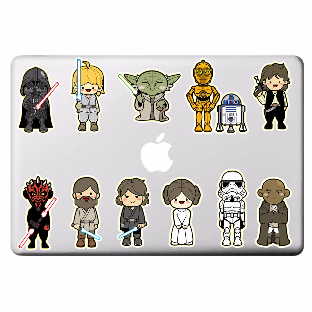 Star Wars 11 Classic Characters Laptop Stickers for DIY Partial Decal Air Pro Retina Mac Notebook