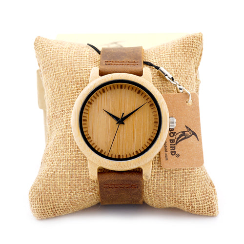 BOBO BIRD W*A09A10 Natural Bamboo Watch with Leather Band for Men and Women