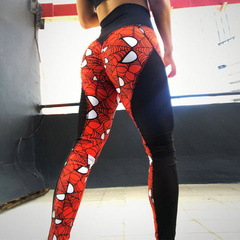 Super Hero Print Women Push Up LeggingsWith  Mesh Patchwork High Waist - Breathable Dry Quick Pants