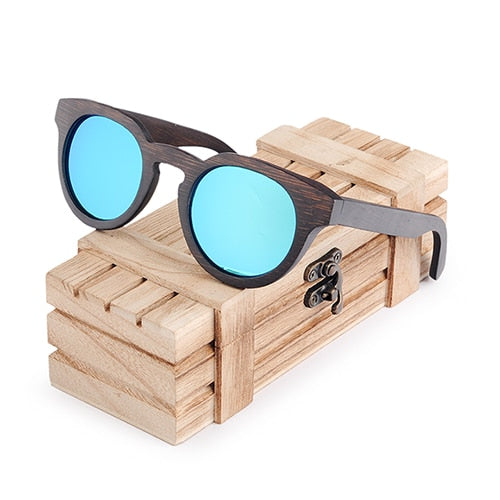 BOBO BIRD Men/Womens Black Cat Eye - Polarized Coating - Bamboo Wooden Sunglasses