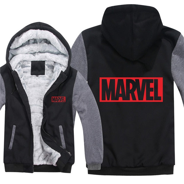 Marvel Logo Winter Fleece Zip-up Hoodie Jacket (Unisex) (Many Variants Available)