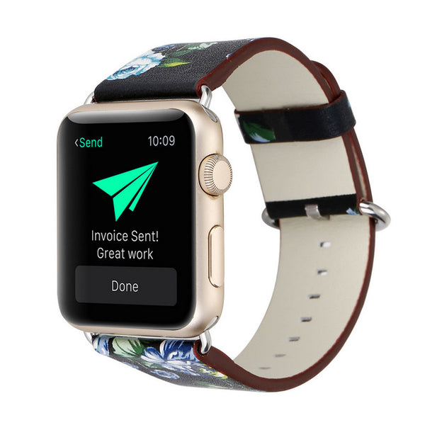 Vintage Floral Leather Band for Apple Watch (Many Variants & Apple Watch Sizes Available)