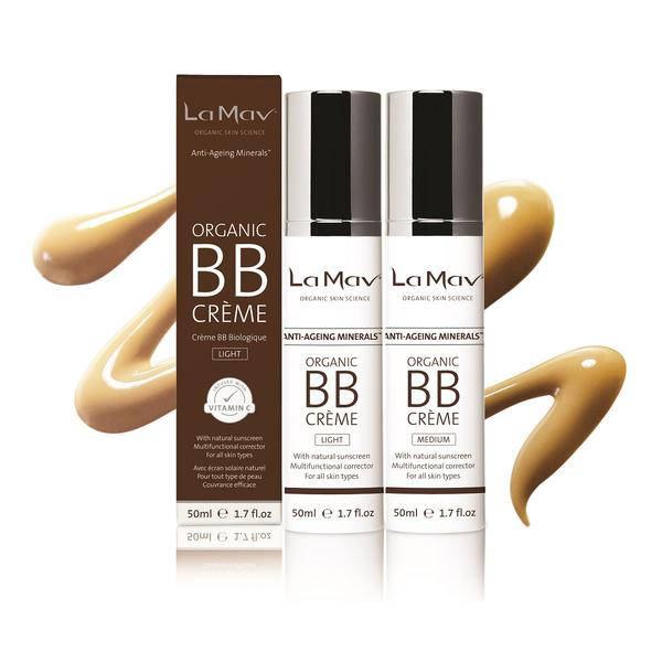 Organic BB Cream - All In One Tinted Moisturizer, Foundation and Natural Sunscreen - For Fresh and Flawless Skin in an Instant - Creams Available in Light and Medium Shades to Suit All Skins Tones