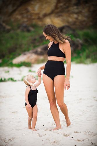 MUMMY AND ME TEXTURED BLACK MATCHING BIKINI AND SWIMSUIT