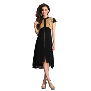 Jaune Black Full Length Zipper Designer Anarkali Kurti