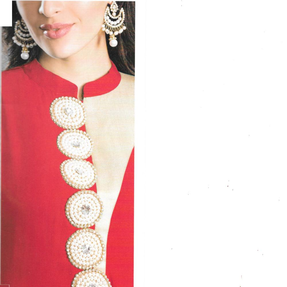 Jaune Bridal Red Pearl Embroidery Designer Suit