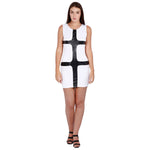 Jaune Bodycon Leather Patterned Mini Dress