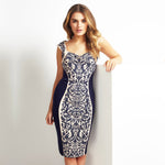 Jaune Floral Celtic knot Dark Blue-Papyrus Maxi Dress